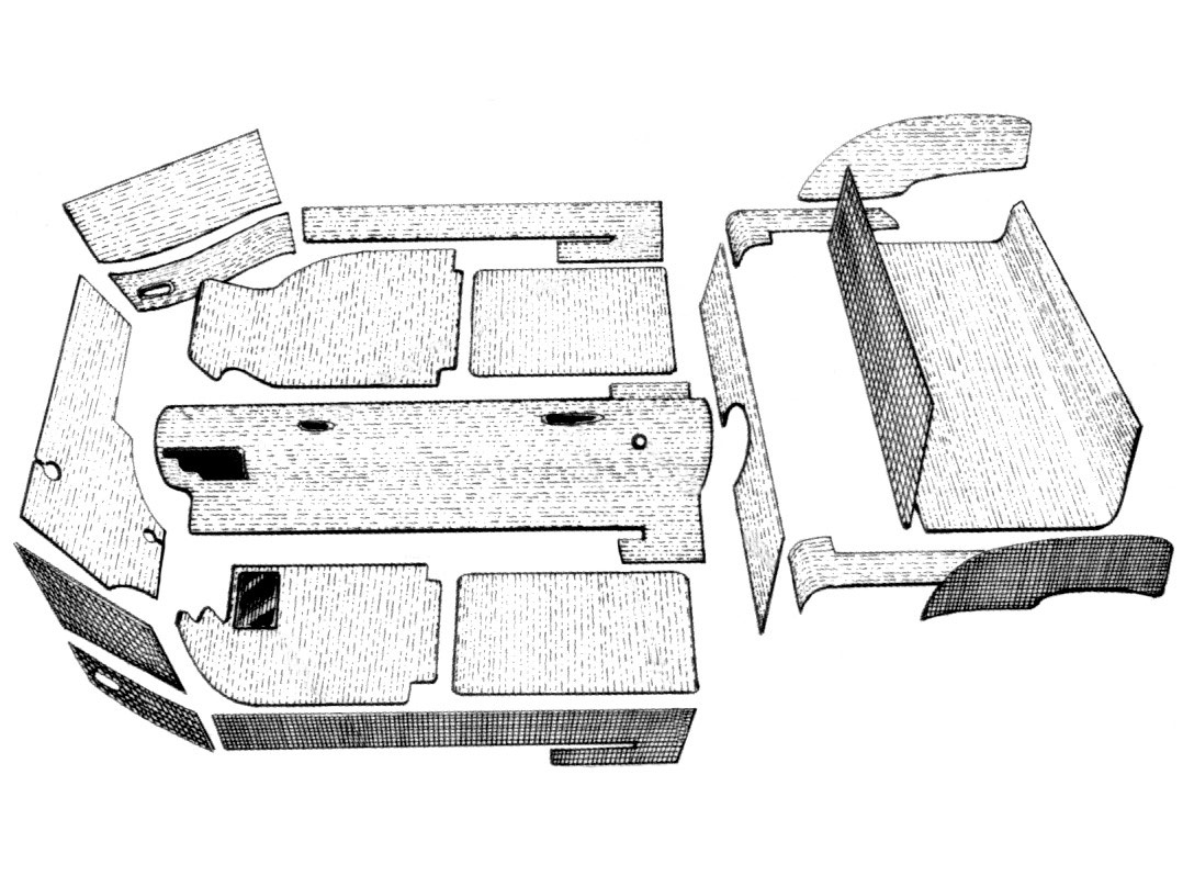 kit moquette karman ghia14 cabriolet 20pezzi grigia 56